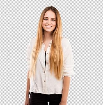 Piuttosto giovane donna in piedi