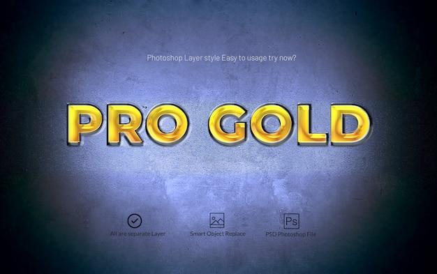 Effetto di testo in stile livello 3d pro gold photoshop