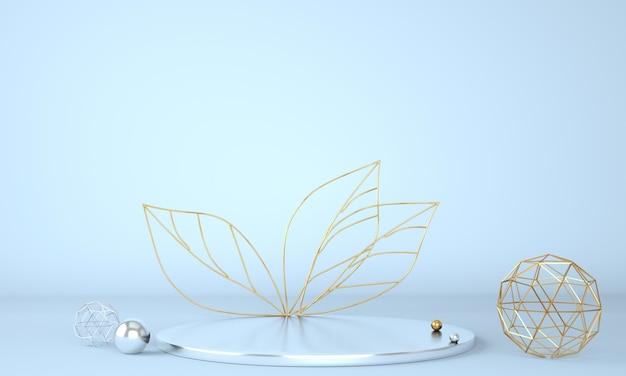 Podio di visualizzazione del prodotto decorato con foglie su sfondo pastello nell'illustrazione 3d