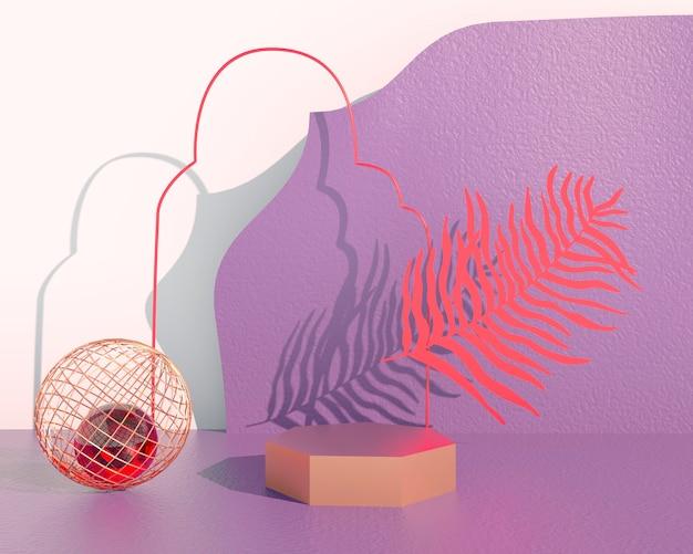 Podio espositore prodotto decorato con foglie su sfondo pastello, illustrazione 3d