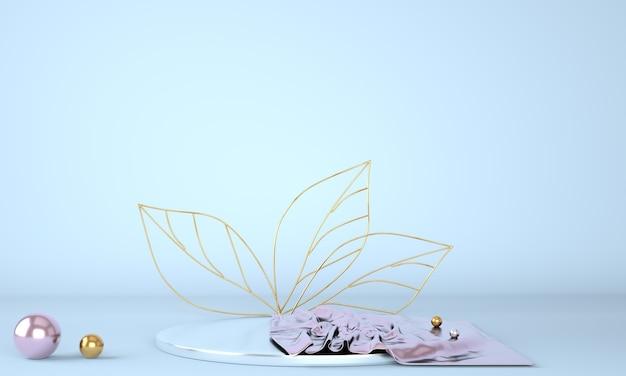 Podio espositivo prodotto decorato con foglie su fondo pastello