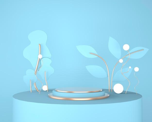 Podio espositore prodotto decorato con foglie