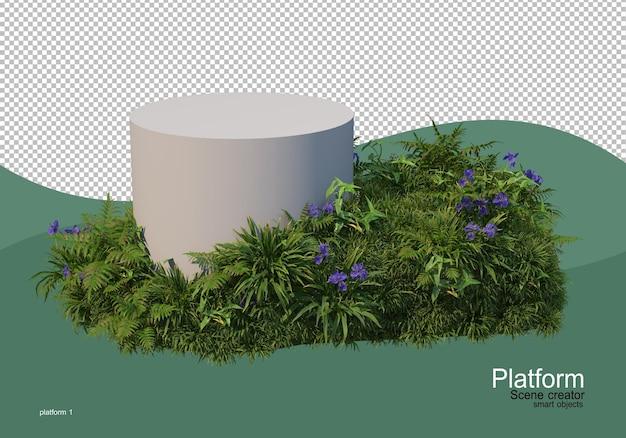 Espositore per prodotti decorato con piante