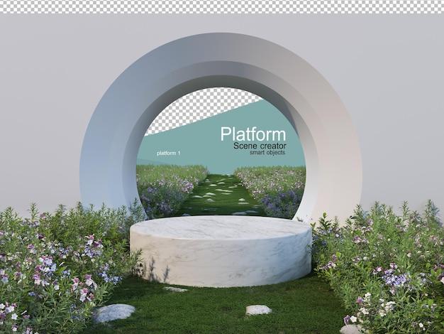 Espositore prodotti in un giardino fiorito con una natura diversa