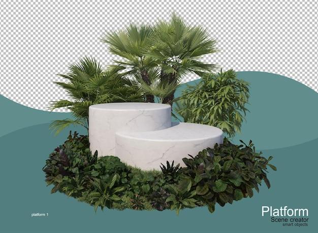 Espositore prodotti in giardino con palme