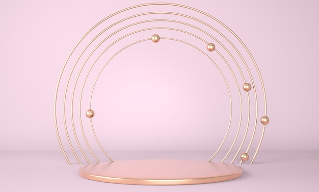 Podio del prodotto nel rendering del concetto di geometria minima 3d