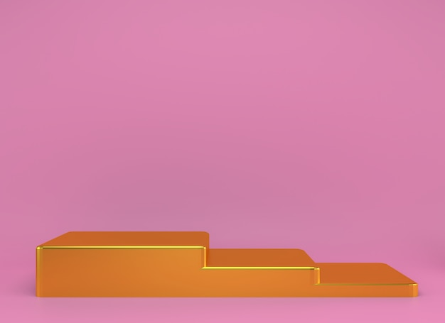 Podio del prodotto sul rendering in scena del concetto di geometria minima astratta
