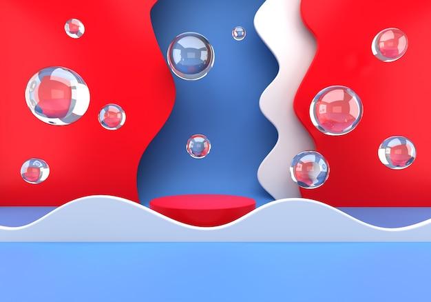 Podio del prodotto per la fase di presentazione del marketing con bolle di sapone