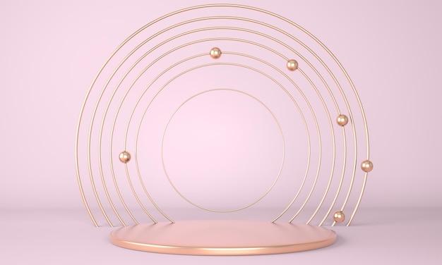 Podio del prodotto con rendering di geometria minima astratta