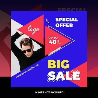 Banner web di vendita di prodotti social media