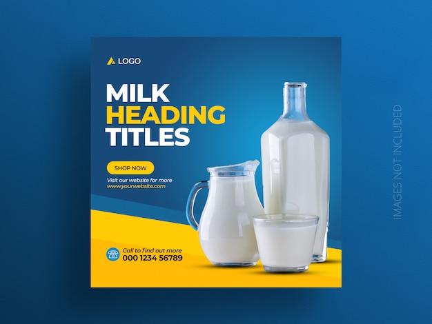 Modello di banner post prodotto social media o volantino quadrato di vendita di latte