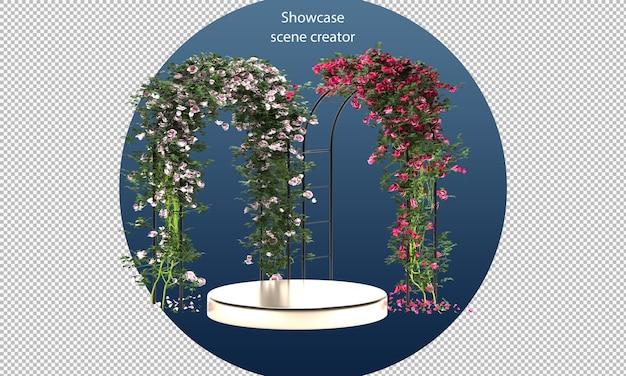 Stand del prodotto e archi di rose3d mockup per mostrare il prodotto