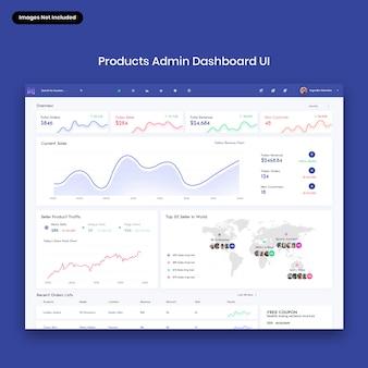 Interfaccia utente dashboard di amministrazione dei prodotti