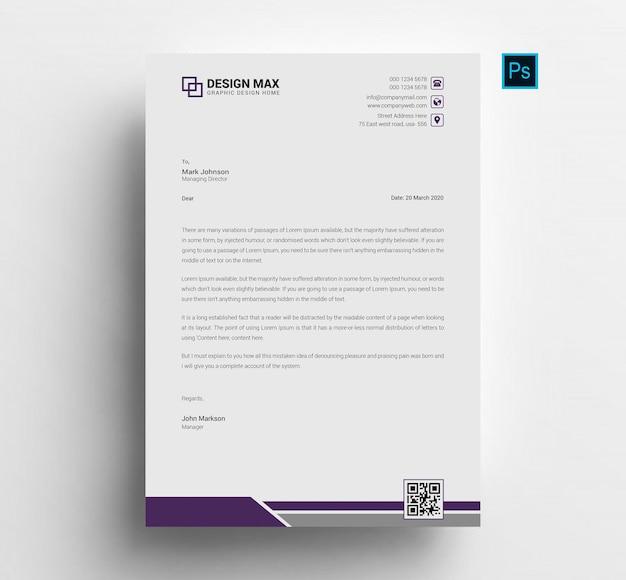 Modello di carta intestata aziendale professionale