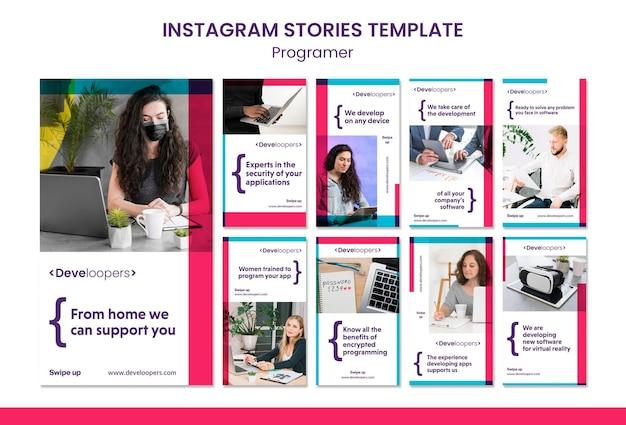 Modello di storie instagram annuncio programmatore