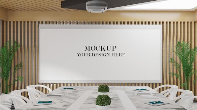 Mockup di schermo del proiettore in una sala riunioni