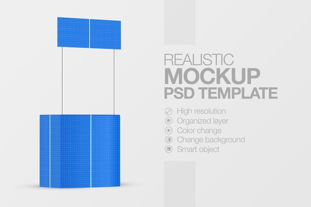 Mockup contatore di promozione stand di stand di vendita al dettaglio isolato rendering
