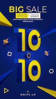 Banner sconto promozione 1010 instagram post story template
