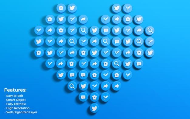 Promozione per post su twitter circondati da icone 3d come love e comment