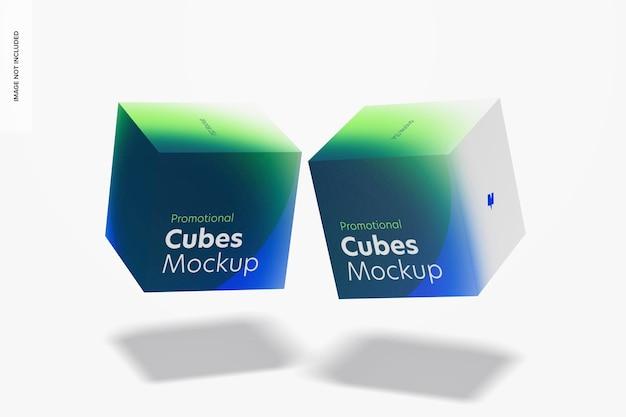 Cubi promozionali display mockup, galleggiante
