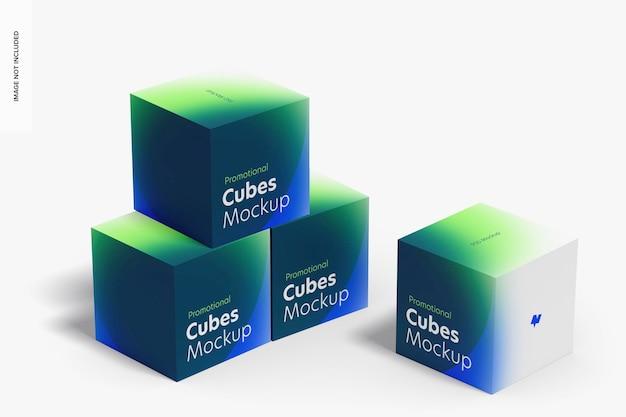 Cubi promozionali display set mockup