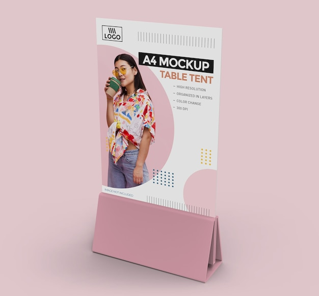 Mockup di tenda da tavolo promozionale per display a4