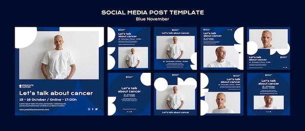 Raccolta di post sui social media per la consapevolezza del cancro alla prostata
