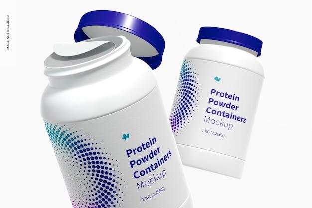 Mockup di contenitore di proteine in polvere, galleggiante