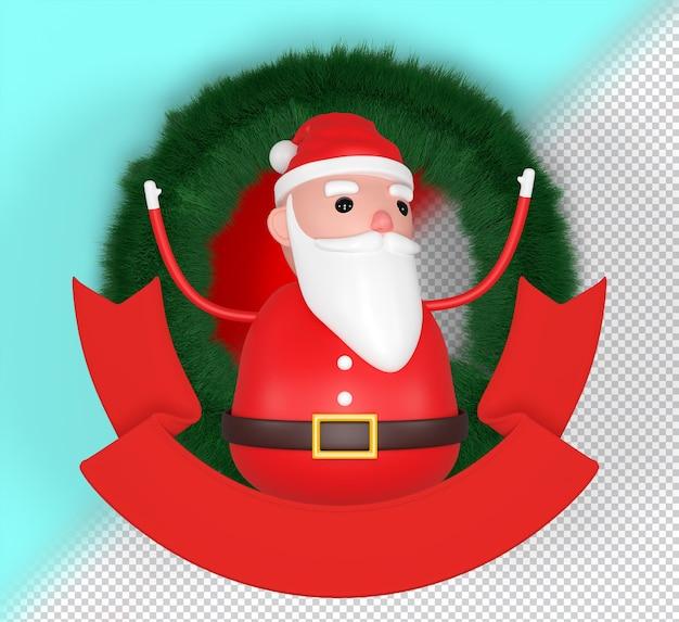 Psd allegro modello 3d di babbo natale, icona di buon natale, divertente cartone animato natale nonno, decorazioni. rendering 3d