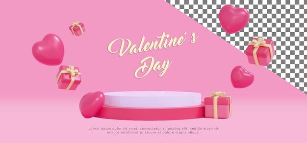 Podio di san valentino felice psd con rendering 3d