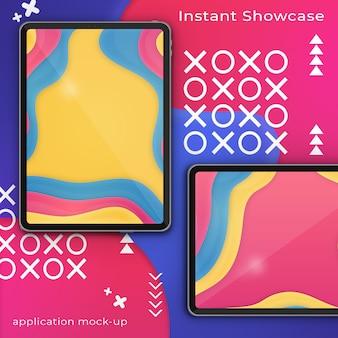 Modello psd di due pixel perfetto ipad su uno sfondo colorato astratto