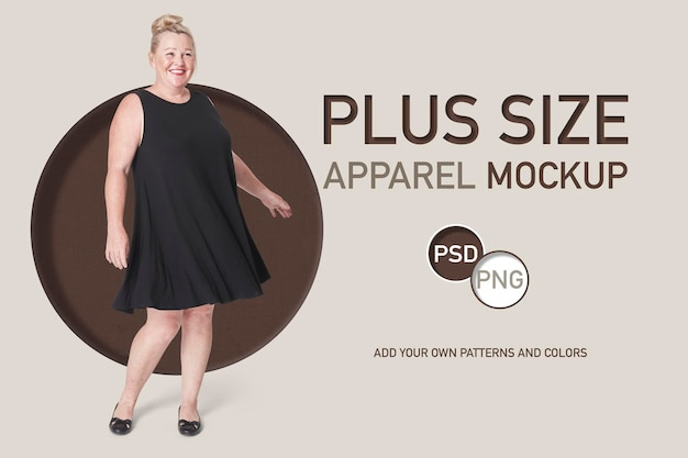 Modello pubblicitario per abito nero da donna taglie forti psd