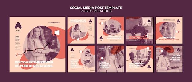 Modelli di post instagram di pubbliche relazioni con foto