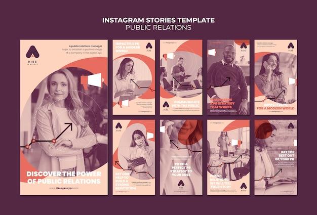 Modelli di storie instagram di pubbliche relazioni con foto