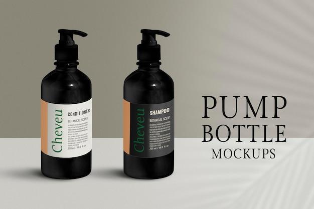 Modello di bottiglia della pompa, design dell'imballaggio del prodotto psd vuoto