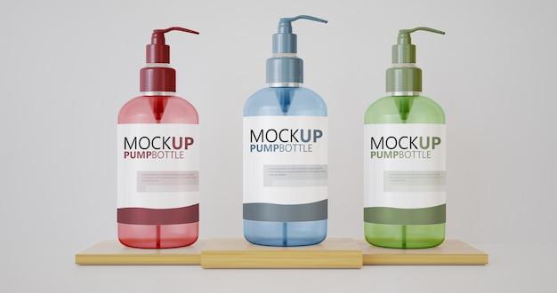 Mockup di bottiglia di sapone con pompa per vari prodotti