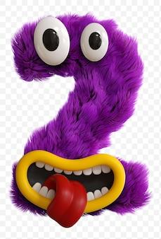 Lettera maiuscola del viso del mostro del personaggio dei cartoni animati viola. alfabeto rendering 3d isolato.