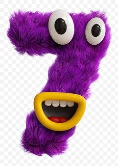Numero di faccia del mostro del personaggio dei cartoni animati viola. alfabeto rendering 3d isolato.