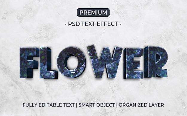 Modello di effetto testo fiore viola