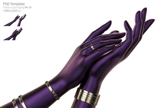 Le mani viola su fondo bianco 3d rendono