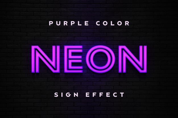 Modello di testo effetto segno al neon viola