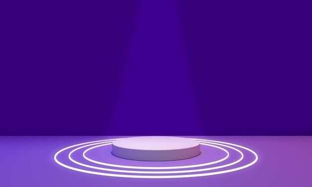 Camera viola e neon con podio per il rendering 3d di posizionamento del prodotto