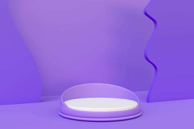 Camera viola con podio per il rendering 3d di posizionamento del prodotto