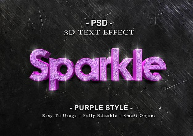 Modello di effetto testo scintilla viola Psd Premium