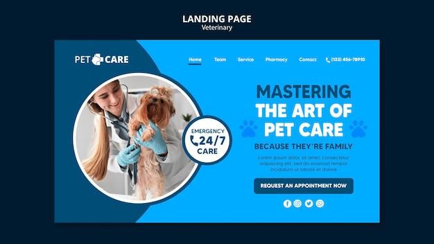 Modello di pagina di destinazione per la cura degli animali domestici di qualità