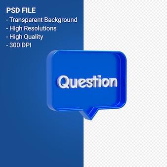 Icona 3d di notifica punto interrogativo isolata