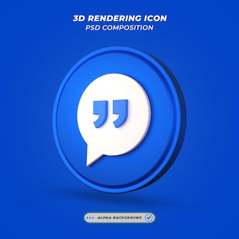 Icona di virgolette nel rendering 3d