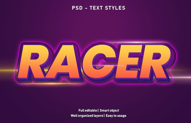 Modello di stile di effetti di testo racer