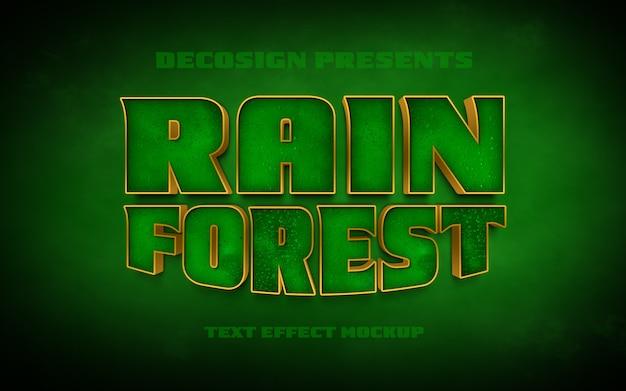Mockup effetto testo psd della foresta pluviale