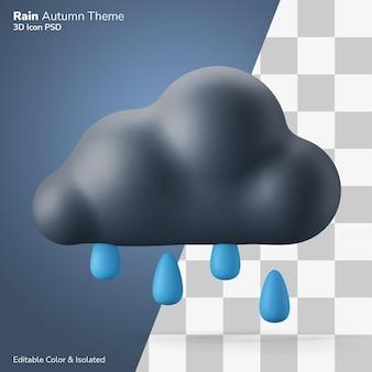 Pioggia tempo stagione autunnale simbolo 3d illustrazione rendering icona modificabile isolato